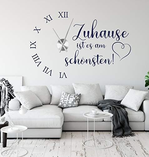 tjapalo® a230 Wanduhr Wohnzimmer Wandtattoo Uhr Sprüche Zitate Zuhause ist es am schönsten Wandspruch Wandaufkleber mit Uhrwerk, Größe: B90 x H58cm (+Uhrwerk silber), Farbe: Violett