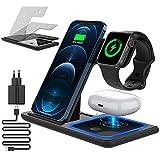 CAVN 3 in 1Caricabatterie Wireless Collassabile Stazione di Ricarica, Induttiva Docking Station per iPhone 13/12/11 Pro Max Mini/XS/XR/X/8+, iWatch 7/6/SE/5/4/3/2, Samsung Galaxy S2/S20/S11+