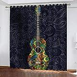 bdbdff 3D Cortinas Opacas Guitarra De Flores,100% Poliéster Decoracion De Ventanas para Sala De Estar De Dormitorio Cortinas Opacas 182Wx214H Cm