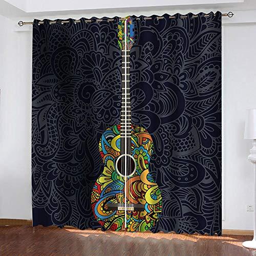 TFNIMB Mörkläggning mörkläggningsgardiner med öljetter färgglada musikinstrument elektrisk gitarr supermjuk värmeisolerande ring toppgardiner för vardagsrum sovrum, set med 2 gardinpaneler 280 x 260 cm