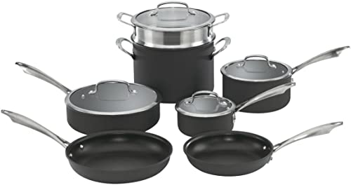 wholesale Cuisinart Dishwasher Safe Hard-Anodized 2021 11-Piece Cookware high quality Set, Black outlet sale