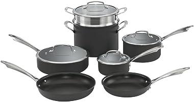 Cuisinart Dishwasher Safe Hard-Anodized 11-Piece Cookware Set, Black