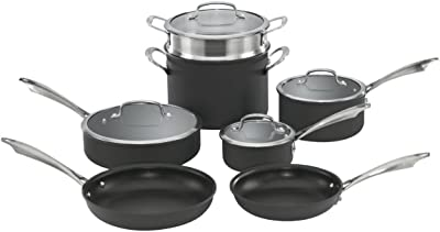 Cuisinart Dishwasher Safe Hard-Anodized 11-Piece Cookware Set, Black
