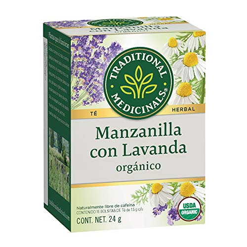 Traditional Medicinals Té orgánico Manzanilla con Lavanda, Con aroma a flores y sabor agridulce., 24 gramos
