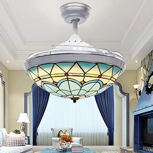 Huston Fan 42 Inch Chandelier Fan Mediterranean Mute Ceiling fan Lights With 4 Acrylic Retractable Blades Tiffany Blue White Ceiling Fan Indoor Decorative Variable Light Ceiling Lamp Kid LED Creative