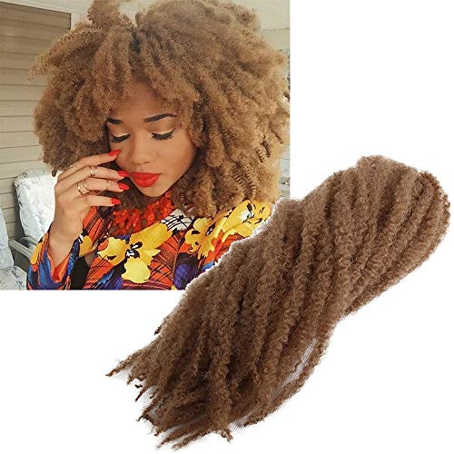 Zonghao Crochet Marley Braids Hair Brown Afro Kinky Twist 18 Inch Synthetic Braiding Hair Extensions (3Packs, #27)
