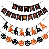 AUXSOUL 2 Piezas de Pancarta Halloween Banner Halloween Guirnalda Halloween Empavesados de Calabaza Bruja para Decoraciones de Halloween