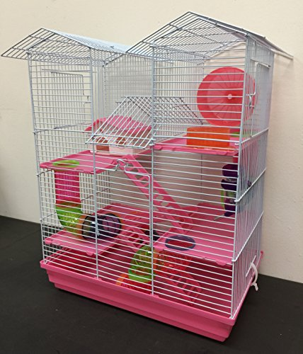 Large 5-Floor Twin Tower Habitat Syrian Hamster Rodent Gerbil Mouse Mice Rat Wire Animal Cage (Pink)