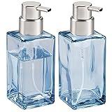 mDesign Juego de 2 dispensadores de jabón en espuma – Dosificador de baño de cristal con capacidad de 414 ml – Dosificadores de jabón de diseño cuadrado con cabezal de plástico – transparente/plateado