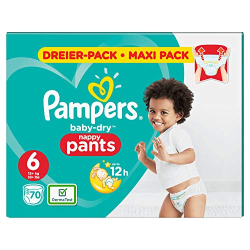 Pampers Babay-Dry Pants, Gr. 6, 15kg+, Dreier-Pack (1 x 70 Windeln)