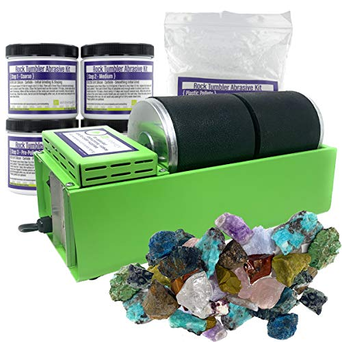 WireJewelry Double Barrel Rotary Rock Tumbler Deluxe Kit, Includes 3 Pounds of Rough Madagascar...