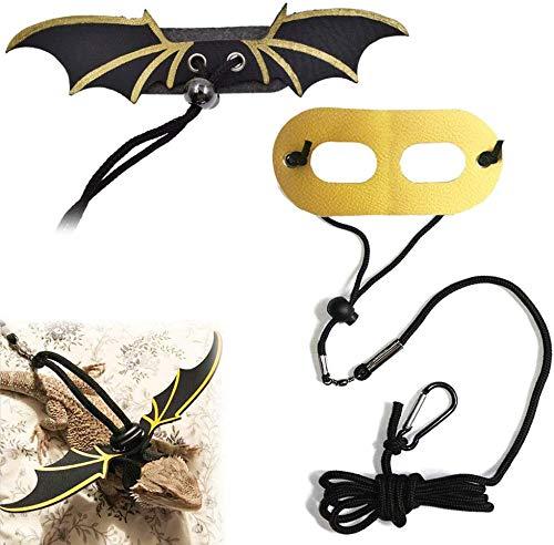 Movospeed - Juego de 2 Correas Ajustables para Reptiles con diseño de dragón Barbudo con Cuerda de Seguridad para Caminar con alas Frescas, 3 tamaños S/M/L