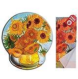 Van Gogh Girasoli Mouse pad ergonomico con supporto per il polso. Rotonda grande area del ...