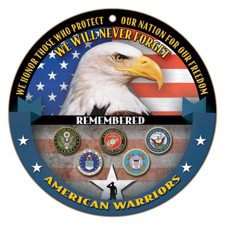 SJT ENTERPRISES, INC. We Will Never Forget - American Warriors - Bald Eagle on Flag 10' Round Wood Plaque Sign (SJT15431)