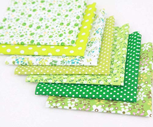 Paquete de tela de algodón para manualidades, patchwork, patchwork, manualidades, diferentes patrones, 7 unidades de 50 cm x 50 cm.