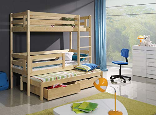 Bunk Beds Triple Pine Children Sleeper Modern Solid Wooden Trundle 2 Drawers Univesrsal Ladder Mattresses