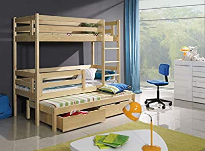 Bunk Beds Triple Pine Children Sleeper Modern Solid Wooden Trundle 2 Drawers Univesrsal Ladder Mattresses