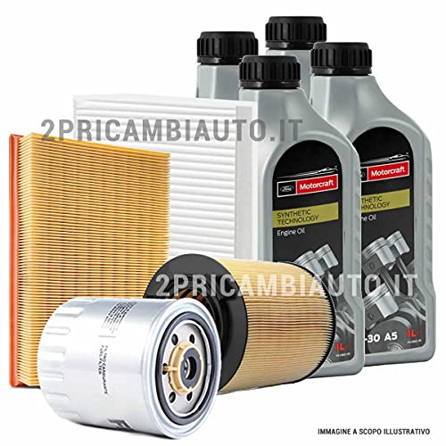 Kit tagliando auto, kit quattro filtri e 4 litri olio motore Motorcraft 5W30 (KF0004/so)