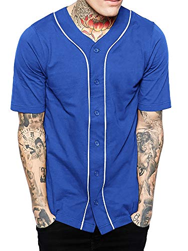 Hat and Beyond Mens Baseball Button Down Jersey (X-Large, 01up01_Royal Blue/White)