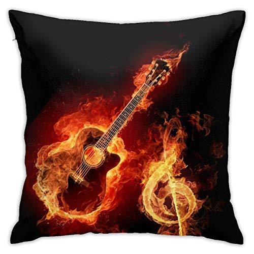 Cy-ril Almohadas Decorativas cuadradas de Guitarra y Nota Musical de Fuego, Fundas de Cojines con Estampado geométrico, Fundas de Almohada para el hogar, 40X40 Cm