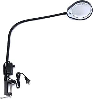 Holulo Long arm Bracket Clip Clipboard Magnifier with a Lamp Magnification Arm Length 80cm w/ Desk LED Work Light magnifying glass (10X, Black)
