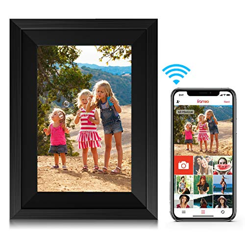 Amaboo 10.1'' WiFi Digital Picture Frames Smart Cloud IPS Touch Screen HD Display 16GB Storage Auto-Rotate Photo Frame with Video/Pictures Share by Frameo APP,Black Color