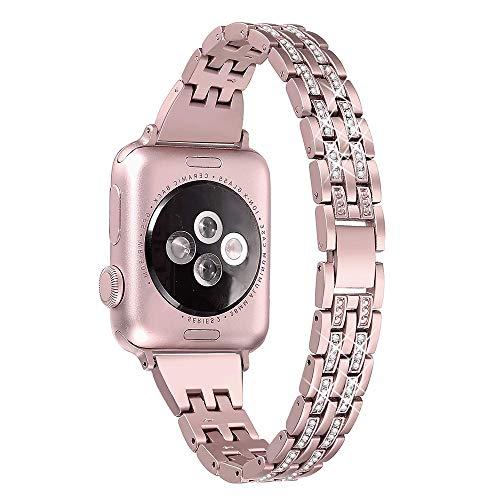 Apple Watch 1/2/3/4/5/6/SE交換バンド Apple Watch Series 6 バンド 42mm 44mm 高級ステンレスバンド おしゃれ 調節可能 ビジネス風 キラキラ アップルウォッチ スマート ウォッチ 交換バンド (ローズゴールド)