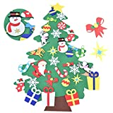 Awtlife 3,2FT Felt Christmas Tree Set con Ornamenti 28 Pz DIY Staccabile Decorazione da Parete per Bambini Decorazione di Natale
