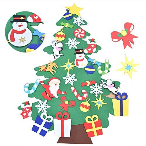 Bodosac Juego de árboles de Navidad de Fieltro de 3.5 pies con Adornos 32 Piezas de Bricolaje decoración de Pared Desmontable para niños decoración de Navidad