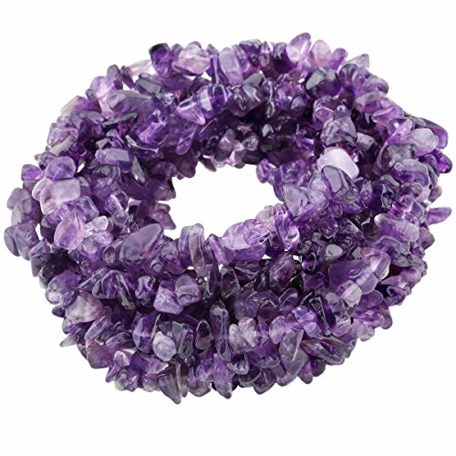 SUNYIK Amethyst Tumbled Chip Stone Irregular Shaped Drilled Loose Beads Strand for Jewelry Making 35