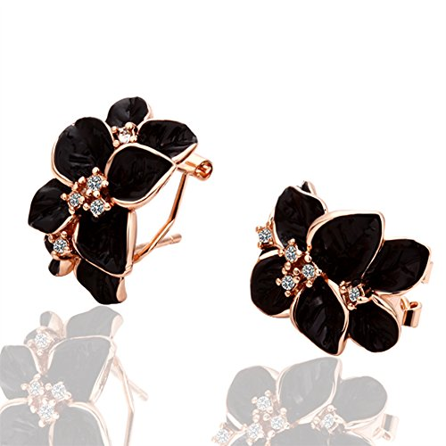 jewelleryclub bañado en oro rosa cristales de Swarovski Crystal Flower Cluster pendientes de clip para las mujeres