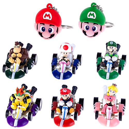 Pantyshka 6pcs Mario Kart Cars Pull Backs Figures, Mario, Luigi, Princess Peach, Bowser, Toad, Donkey Kong and 2 pcs Keychains Perfect Mario Cake Topper Decorations