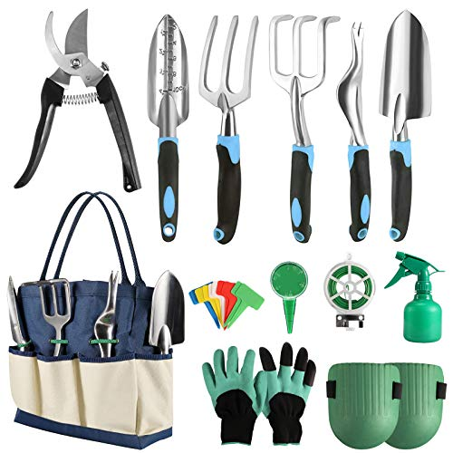 KNMY Garden Tools Set, 13 Pieces Durable Gardening Tools, Aluminum Alloy Gardening Set Indoor and Outdoor, Hand Planting Tool Kit, Gardening Gifts for Women and Men