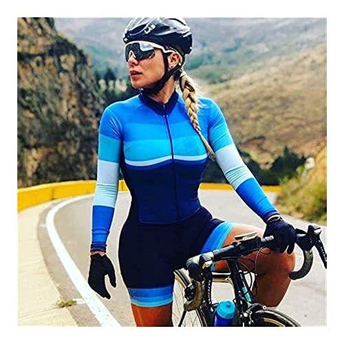 LYYJIAJU Ciclismo al aire libre Jersey Traje Triatlón femenino traje de una pieza ciclismo patinaje acolchado rápido secado en bicicleta desgaste (Color : D, Size : 3XL)