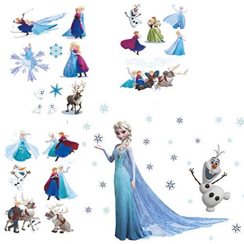 Kibi Wandtattoo Eiskönigin (Frozen) Wandsticker Frozen Disney für Kinderzimmer Living Room Removable Prinzessin Elsa Wandtattoo Kinderzimmer Frozen Olaf 2 blatt