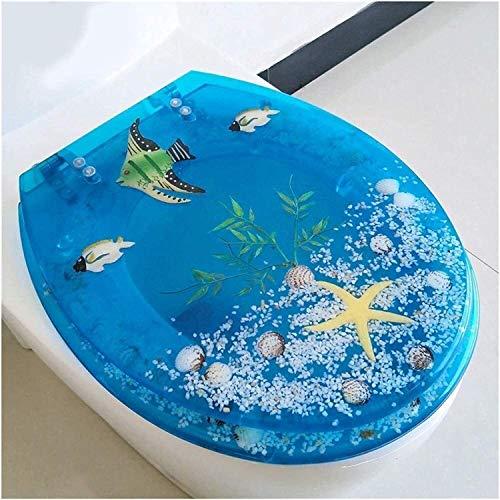 Lianlili Antideslizante WC Tapa, T/V/S reemplazable Superior de Asiento de Inodoro Ajustable Bisagra WC Cubierta for el baño de la Familia Azul fácil de Limpiar (Color : Blue, Size : B)