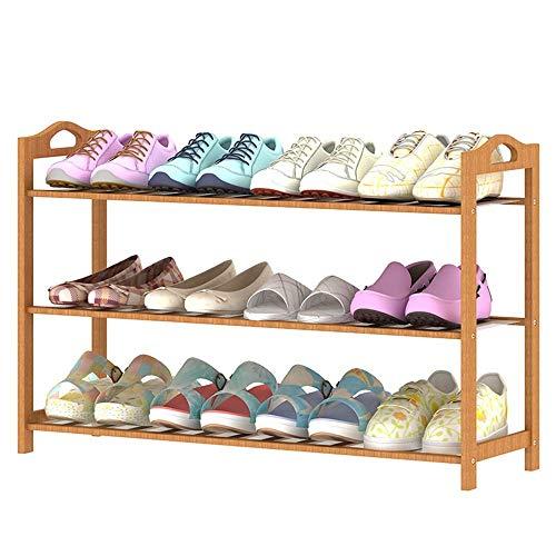 HLL Zapatero plegable simple de madera maciza de bambú, gabinete para zapatos, estante para zapatos de engrosamiento multicapa, color de madera,70x25x50cm,70x25x50cm