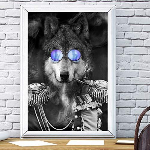 SDFSD bril tijgerleeuw beer wolf muur kunst canvas afbeelding en druk zwart wit wandafbeeldingen voor woonkamer decoratie 40 x 50 cm
