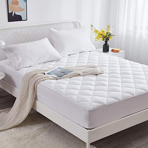 Bioeartha Mattress Pad Queen Size Quilted Fitted Mattress Cover Soft Down Alternative Filled Mattress Topper Cooling Breathable Fluffy Mattress Protector with Deep Pocket to 18quot Queen