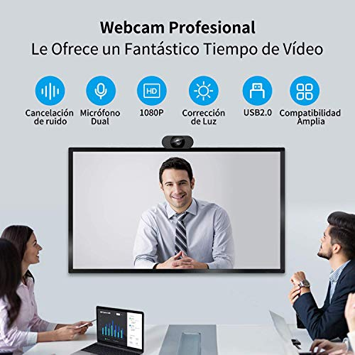 Wansview Webcam, Full HD 1080p mit Mikrofon, tragbare Webcam für PC, mit USB 2.0, Streaming-Kamera mit Rauschunterdrückung für Videoanrufe, Aufnahmen, Konferenzenaufnahmen mit drehbarem Clip, 102