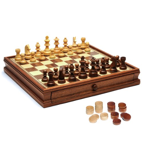WE Games Wood French Staunton Chess & Checkers Set with 15 in. Board & Weighted Pieces - 3 in. King