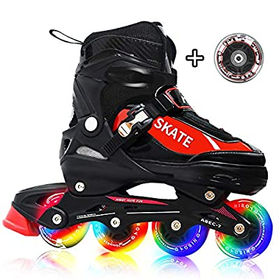 Hiboy Adjustable Inline Skates with All Light up Wheels, Outdoor & Indoor Illuminating Roller Skates for Boys, Girls, Beginners, Red (Large-5-8) …