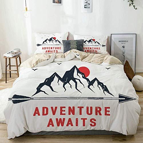 Juego de funda nórdica beige, montañas, cielo de luna llena con cita de motivación de gaviotas voladoras, juego de cama decorativo de 3 piezas con 2 fundas de almohada, fácil cuidado, antialérgico, su