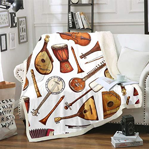 Manta de felpa para guitarra musical, manta sherpa para niños y niñas, manta de forro polar tradicional con música de rock, manta bohemia tribal vintage para sofá cama, tamaño King de 87 x 94 pulgadas