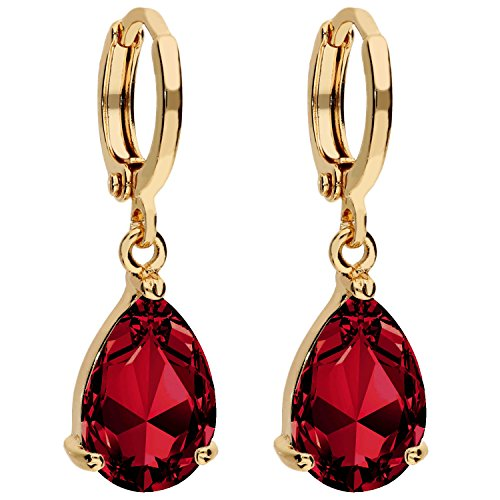 MYA art Damen Goldene Creolen Ohrringe Hängend Ohrhänger mit Zirkonia Stein Tropfen-Anhänger Gold Vergoldet Gelbgold Rot MYAGOOHR-38