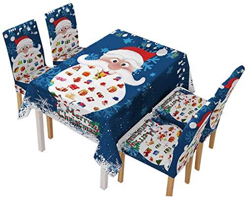 Kerst Tafelkleed Stoelhoes, Blauw Kerstman Servies Stoel Decor Hoed Cover Tafelkleed Cover Kerstfeest Diner Decoraties…