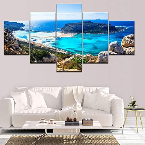 Preisvergleich Produktbild DAIZHJ Leinwandbilder Für Wohnzimmer Modulare HD Drucke Bilder 5 Stücke Blue Sea Beach Island Seascape Poster Home Wandkunst Dekor
