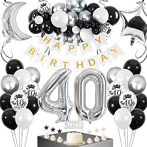 SPECOOL 40 Anni Addobbi per Feste di Palloncini Compleanno, Decorazioni Compleanno Palloncini Metallizzati Argento Nero e Bianchi Coriandoli Argento Decorazione per Uomini e Donne