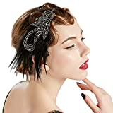 BABEYOND 1920s Flapper Headband Accessories Roaring 20s Feather Hair Band Vintage Gatsby Party Accessories (Silver)