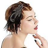 Coucoland 1920s Feder Haarreif Stirnband Damen 20er Jahre Stil Flapper Charleston Haarband Great Gatsby Damen Fasching Kostüm Accessoires (Silber)